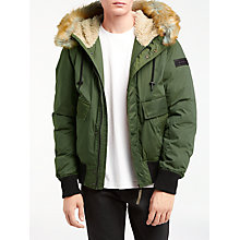Buy Diesel W-Galt Padded Faux Fur Collar Jacket, Forest Night Online at johnlewis.com