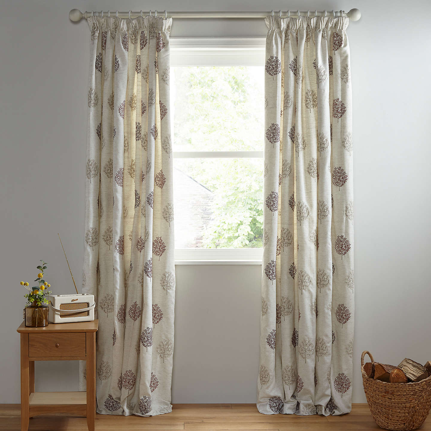 BuyJohn Lewis Mini Tree Pair Lined Pencil Pleat Curtains, Red / Multi, W167 x Drop 137cm Online at johnlewis.com