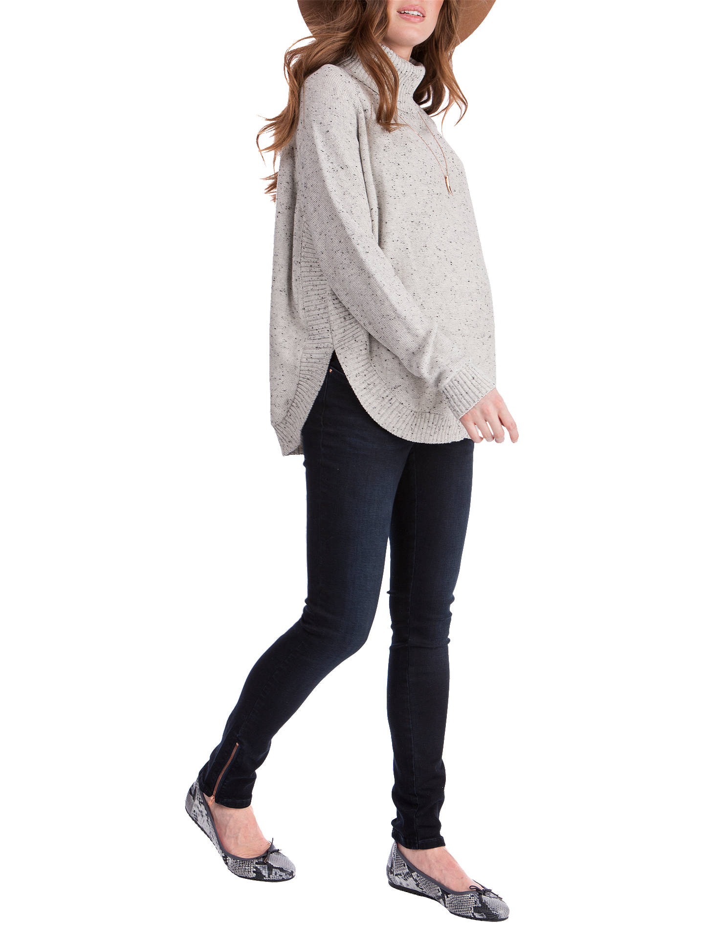 BuySéraphine Alma Speckled Cape Roll Neck Maternity Jumper, Grey, S Online at johnlewis.com
