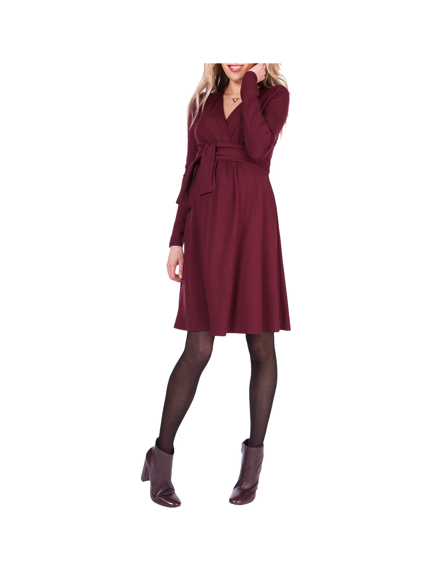 BuySéraphine Johanna Tie Maternity Nursing Dress, Burgundy, 8 Online at johnlewis.com