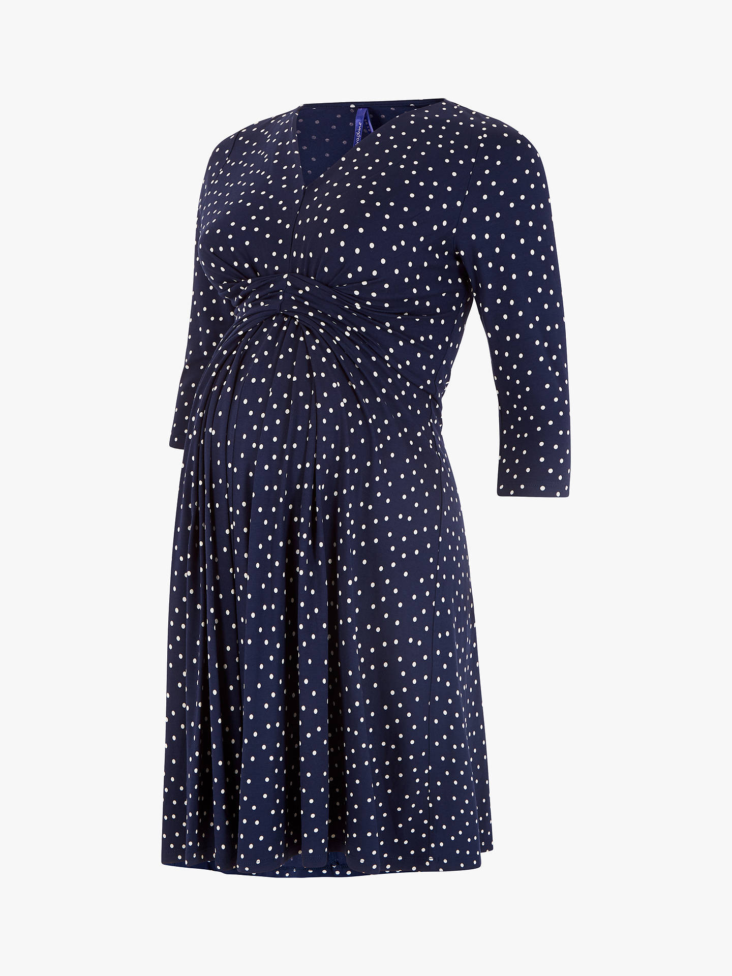 BuySéraphine Eva 3/4 Sleeve Maternity Dress, Navy, 8 Online at johnlewis.com