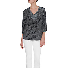 Buy NYDJ Mixed Print Peasant Blouse, Mikumi Medley Black Online at johnlewis.com