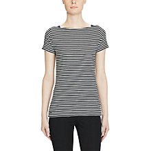 Buy Lauren Ralph Lauren Stripe Boat Neck T-Shirt, Polo Black/White Online at johnlewis.com