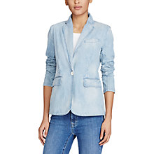 Buy Lauren Ralph Lauren Single Button Denim Blazer, Shoreline Wash Online at johnlewis.com