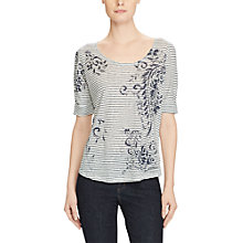 Buy Lauren Ralph Lauren Printed Linen T-Shirt, White/Navy Online at johnlewis.com