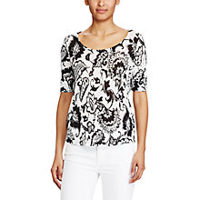 Buy Lauren Ralph Lauren Printed Linen T-Shirt, Black/Pearl Online at johnlewis.com