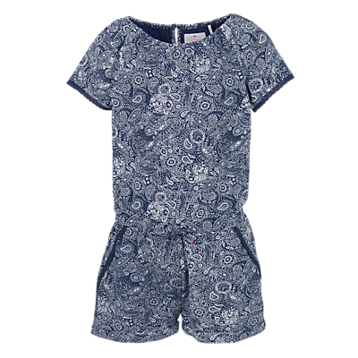 Fat Face Girls' Paisley Jersey Playsuit, Blue