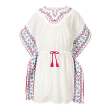 Buy Fat Face Girls' Embroidered Kaftan Top, White Online at johnlewis.com