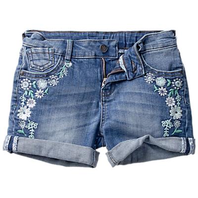 Fat Face Girls' Dark Wash Devon Denim Shorts, Blue