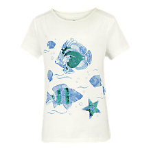 Buy Fat Face Girls' Colour Change Fish Top, Ecru Online at johnlewis.com