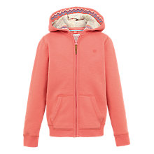 Buy Fat Face Girls' Zip Through Hoodie, Coral Online at johnlewis.com