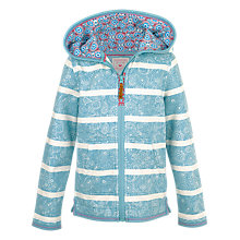 Buy Fat Face Girls' Croyde Stripe Zip Through Hoodie, Aqua Online at johnlewis.com