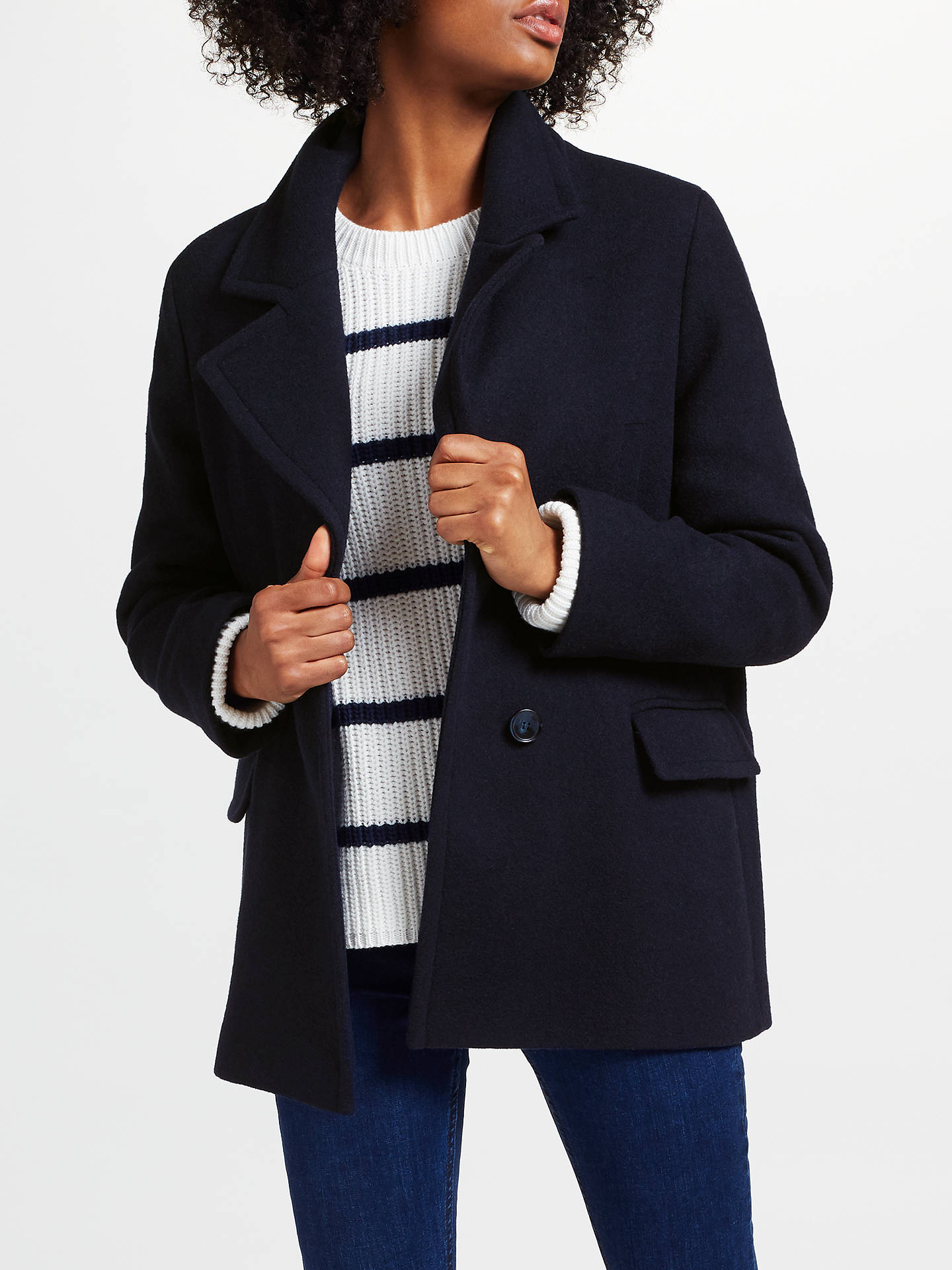 2020 quite nice top-rated latest Collection WEEKEND by John Lewis Short Cocoon Coat, Navy at ...