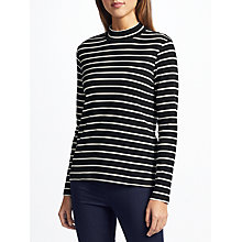 Buy Collection WEEKEND by John Lewis Striped Funnel Neck Top, Black/White Online at johnlewis.com