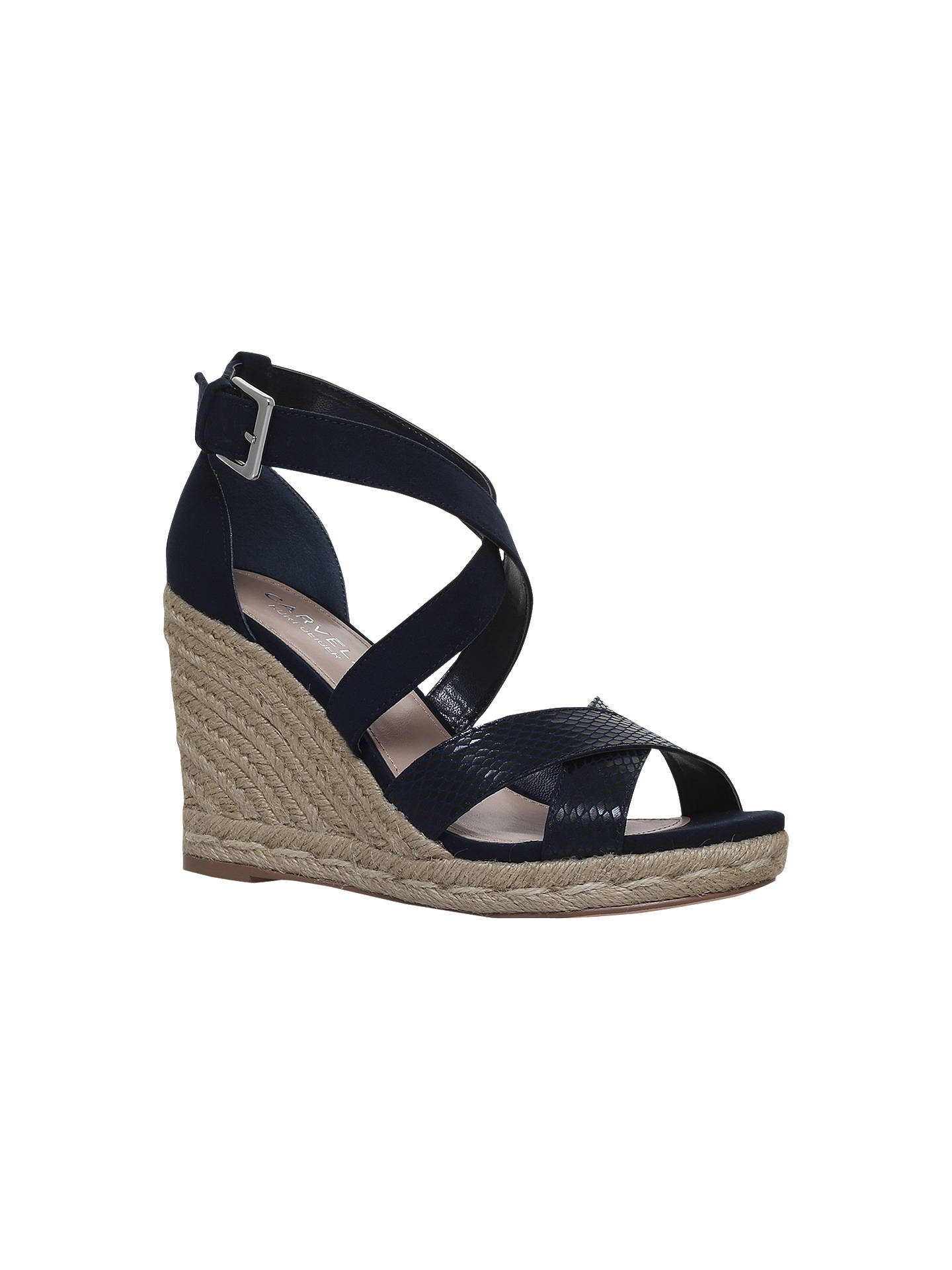 Buy Carvela Smashing Cross Strap Wedge Heel Sandals, Navy, 8 Online at johnlewis.com