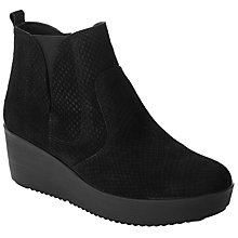 Buy John Lewis Designed for Comfort Pania Wedge Heeled Ankle Boots, Black Online at johnlewis.com