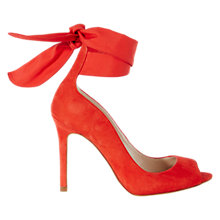 Buy Karen Millen Soft Wrap Tie Peep Toe Stiletto Sandals, Red Online at johnlewis.com