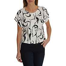 Buy Betty & Co. Printed Jersey Top, White/Black Online at johnlewis.com