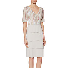 Buy Gina Bacconi Crepe Dress With Embroidered Mesh Bodice, Silver Mist Online at johnlewis.com