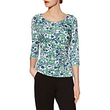 Buy Gina Bacconi Jersey Floral Print Top, Green Online at johnlewis.com