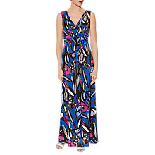 Buy Gina Bacconi Abstract Floral Print Jersey Maxi Dress, Cobalt Blue Online at johnlewis.com