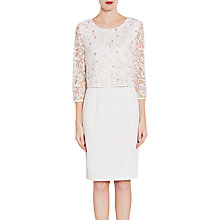 Buy Gina Bacconi Crepe Dress With Floral Lace Overtop, Nude Online at johnlewis.com