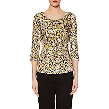 Buy Gina Bacconi Jersey Abstract Print Top, Lemon Online at johnlewis.com