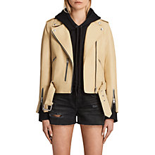 Buy AllSaints Leather Balfern Biker Jacket, Lemon Yellow Online at johnlewis.com