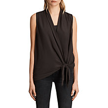 Buy AllSaints Ava Tie Front Top, Anthracite Grey Online at johnlewis.com