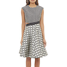 Buy Ted Baker Reetah Cut Out Circle Stripe Pattern Dress, Black/White Online at johnlewis.com