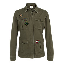 Buy Fat Face Hastings Badge Garment Dye Jacket, Khaki Online at johnlewis.com