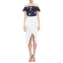 Buy Ted Baker Imygen Tropical Oasis Frill Bardot Top, Navy/Multi Online at johnlewis.com