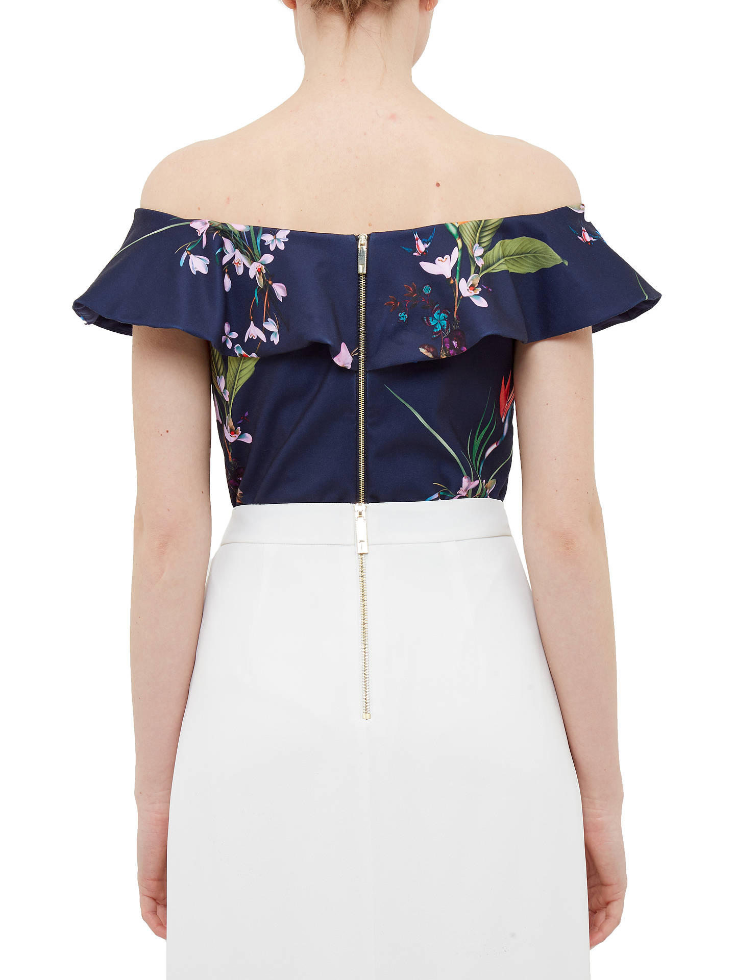 1944406624a ... Buy Ted Baker Imygen Tropical Oasis Frill Bardot Top, Navy/Multi, 0  Online ...