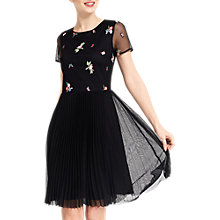 Buy Oasis Leila Embroidered Mesh Skater Dress, Black Online at johnlewis.com
