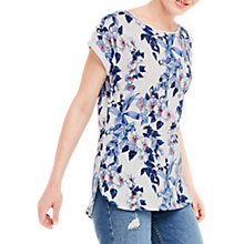 Buy Oasis Tropical Botanical Print T-Shirt, Blue Online at johnlewis.com