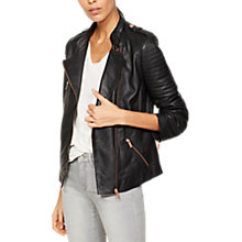 Buy Mint Velvet Leather Collarless Biker Jacket, Grey Online at johnlewis.com