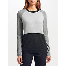 Buy Collection WEEKEND by John Lewis Cashmere Colour Block Jumper, Charcoal/Ivory Online at johnlewis.com