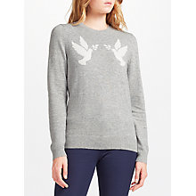 Buy Collection WEEKEND by John Lewis Dove Birds Intarsia Knitted Top, Light Grey/White Online at johnlewis.com