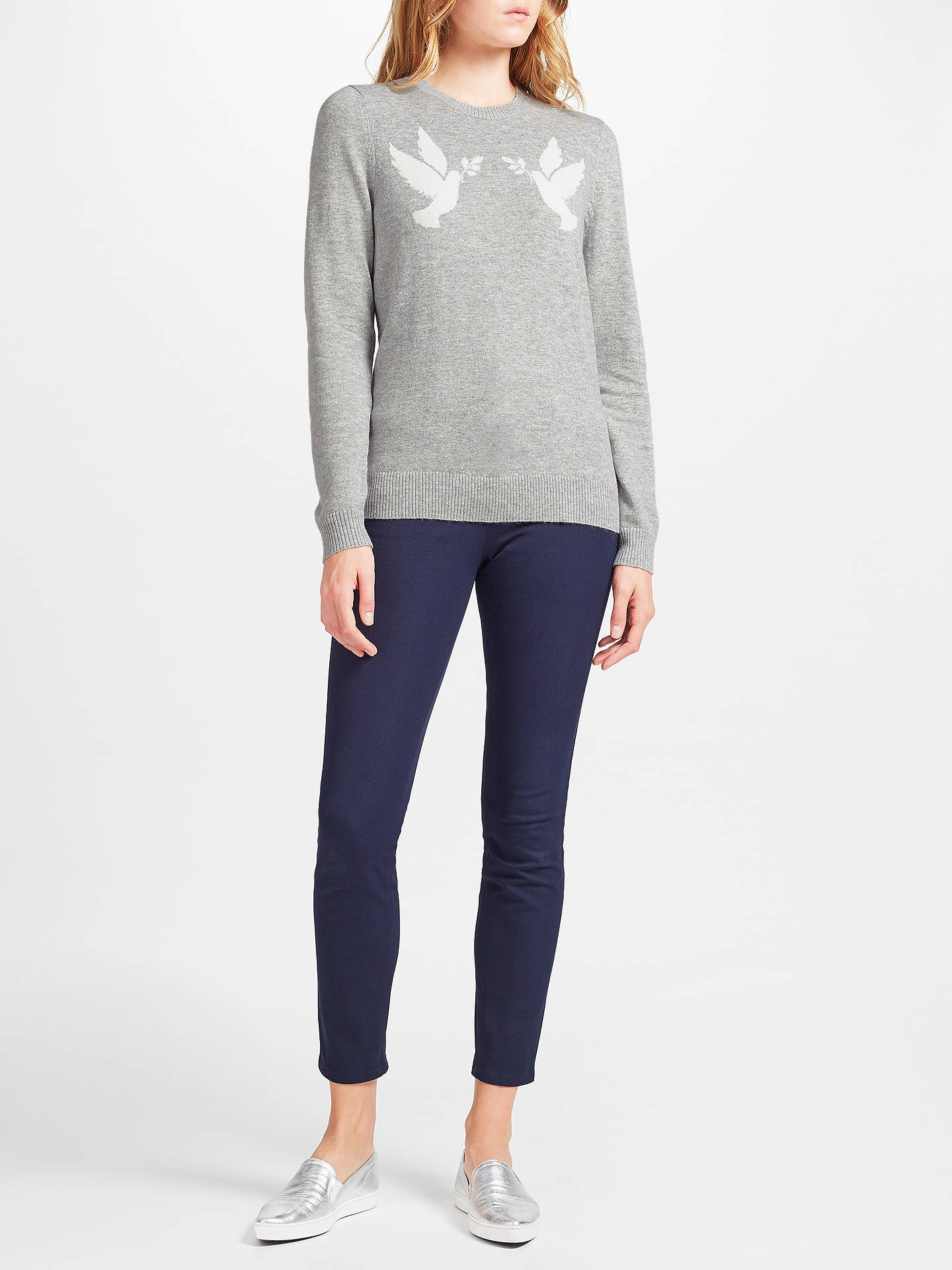 BuyCollection WEEKEND by John Lewis Dove Birds Intarsia Knitted Top, Light Grey/White, 8 Online at johnlewis.com