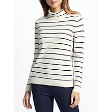 Buy Collection WEEKEND by John Lewis Cashmere Stripe Roll Neck Jumper, Navy/Ivory Online at johnlewis.com