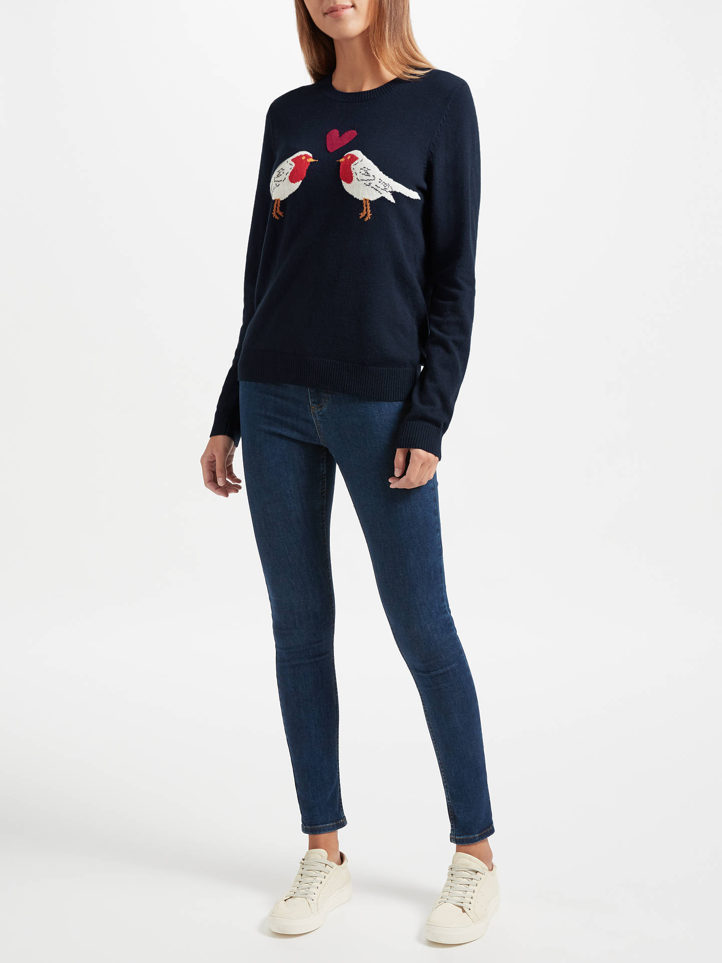 BuyCollection WEEKEND by John Lewis Love Robin Intarsia Knit Jumper, Navy, 8 Online at johnlewis.com