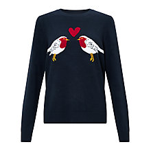 Buy Collection WEEKEND by John Lewis Love Robin Intarsia Knit Jumper, Navy Online at johnlewis.com