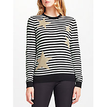 Buy Collection WEEKEND by John Lewis Stripe & Star Intarsia Jumper, Black/Cream Online at johnlewis.com