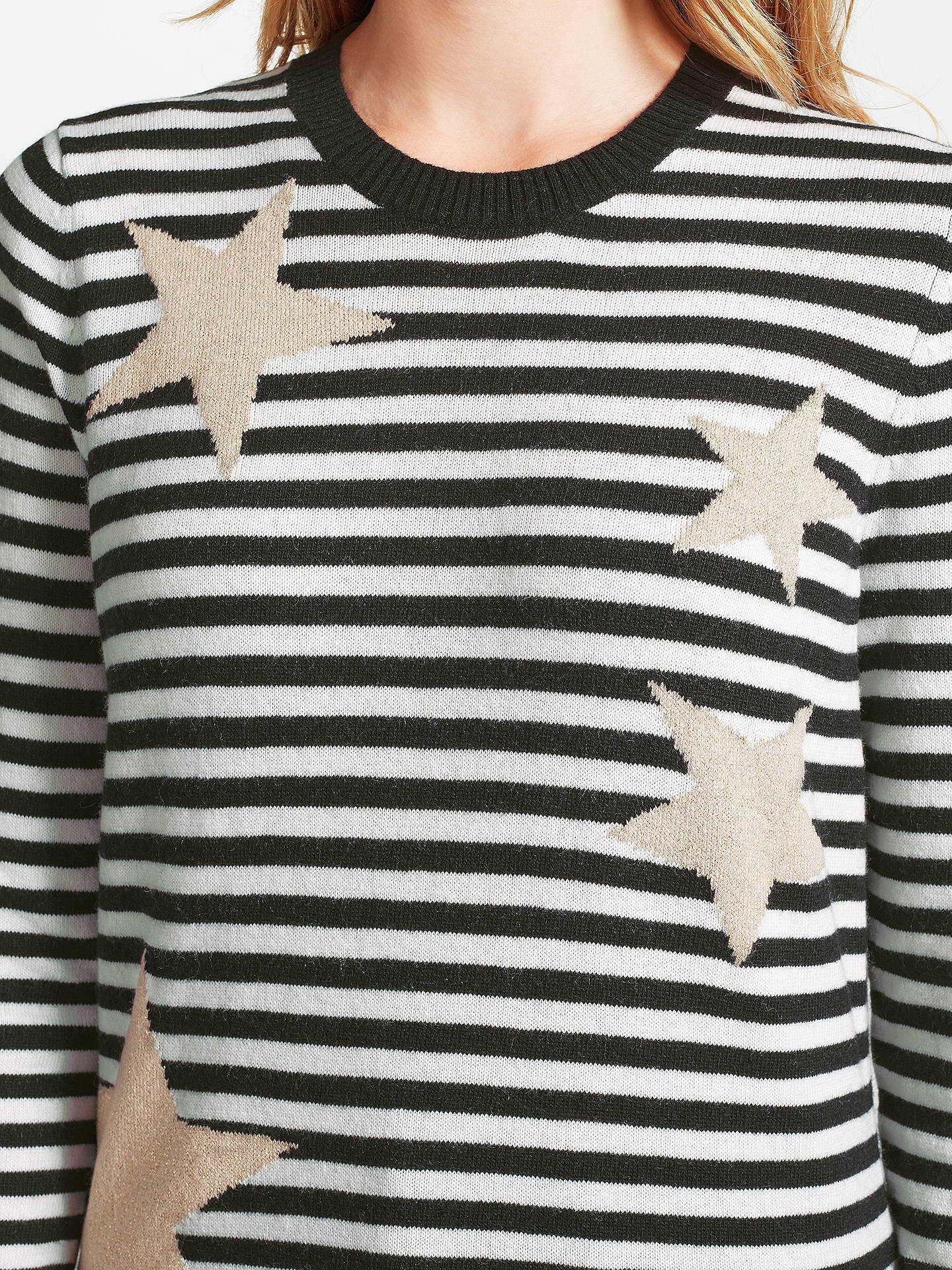 BuyCollection WEEKEND by John Lewis Stripe & Star Intarsia Jumper, Black/Cream, 8 Online at johnlewis.com