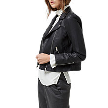 Buy Selected Femme Marlen Leather Jacket, Black Online at johnlewis.com