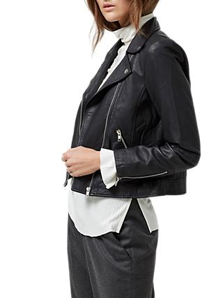 Selected Femme Marlen Leather Jacket, Black
