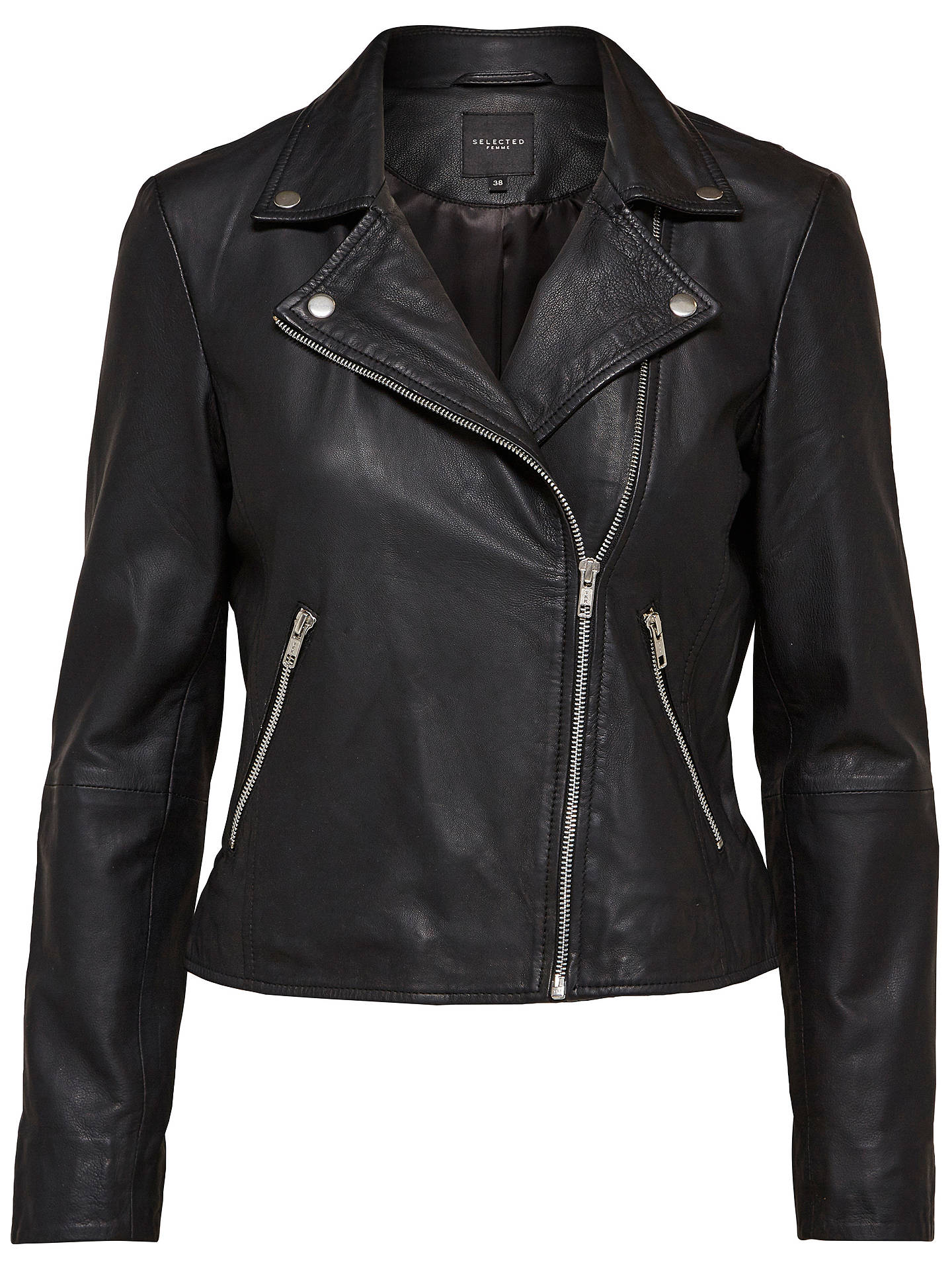 BuySelected Femme Marlen Leather Jacket, Black, 8 Online at johnlewis.com
