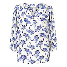Buy Pyrus Grace Printed Silk Blouse, White Cobalt Palm Online at johnlewis.com