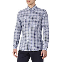 Buy Reiss Carzorla Check Linen Shirt, Soft Grey Online at johnlewis.com