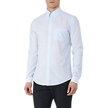Buy Reiss Cage Striped Cotton Slim Fit Shirt, Light Blue Online at johnlewis.com